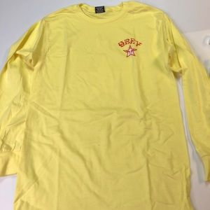 Obey 2 Sided Mens Small Gold Long Sleeve T-Shirt